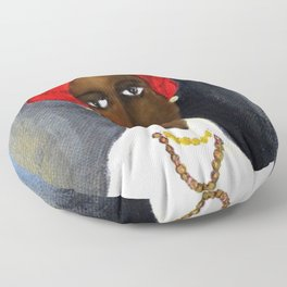 Rare African American Portrait of Aicha Goblet in a Red Hat by Amedeo Modigliani Floor Pillow