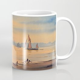 Barges On The River Thames Greenwich London Coffee Mug