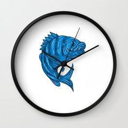 Sheepshead Fish Drawing Wall Clock