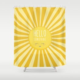 KAWAII SKY - happy smiling sun - hello sunshine quote Shower Curtain