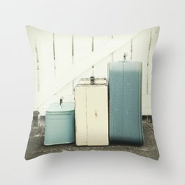 At the Gate in Blue Throw Pillow