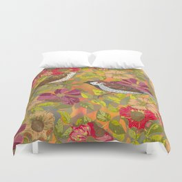 Sweet Sparrows and Briar Rose Duvet Cover
