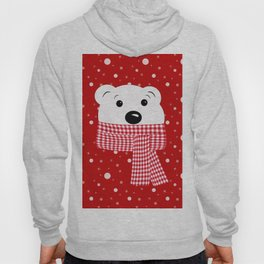 Muzzle of a polar bear on a red background. Hoody