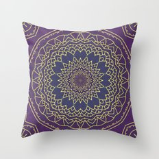 Mandala - purple and gold Throw Pillow