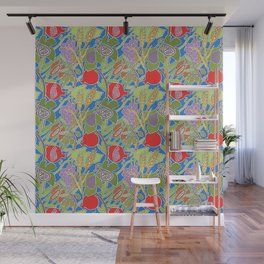 Seven Species Botanical Fruit and Grain with Blue Background Wall Mural
