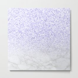 Violet Glitter and Marble Metal Print