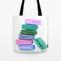macaroons Tote Bags featuring Macaroons  Pink Aqua Periwinkle by WhimsyRomance&Fun