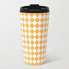 Small Diamonds - White and Pastel Orange Travel Mug