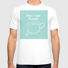 Here's a cuppa positivitea MEDIUM Mens Fitted Tee White