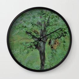 Palette Knife Tree on Wood Wall Clock