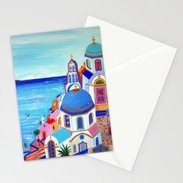 Santorini churches Greek Islands Stationery Cards