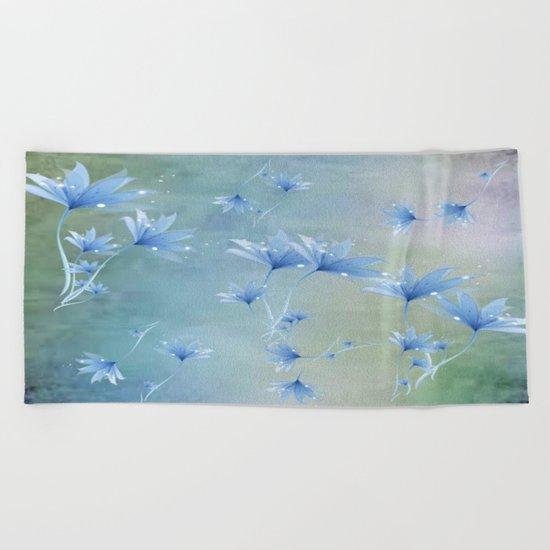 Fantasy Floating Blue Flowers Abstract Beach Towel