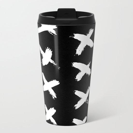 The X White on Black Metal Travel Mug