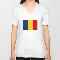 chad wys V-neck T-shirts featuring chad country flag by tony tudor
