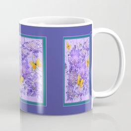 Lavender-Lilac-Teal Butterflies  Pin Cushion Floral  Art Coffee Mug