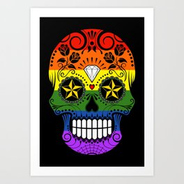 Gay Pride Rainbow Flag Sugar Skull with Roses Art Print