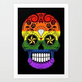 Gay Pride Rainbow Flag Sugar Skull with Roses Art Print
