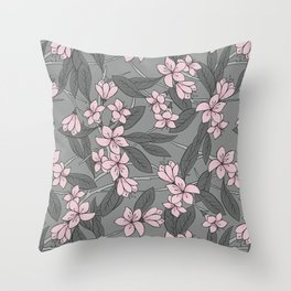 Sakura Branch Pattern - Ballet Slipper + Neutral Grey Throw Pillow