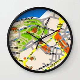 Tel Aviv Jaffa map design - written in Hebrew 2  Wall Clock