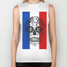 Mexican Skull With French Flag Biker Tank