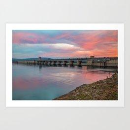 Table Rock Lake Dam at Sunrise - Branson Missouri Art Print
