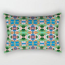 Woman with Sunflower - Blue Rectangular Pillow