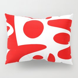Red and white abstract art organic decorative Pillow Sham