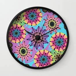 Vibrant Abstract Floral Pattern Wall Clock