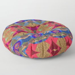Glowing Geometric Tapestry Pattern Floor Pillow