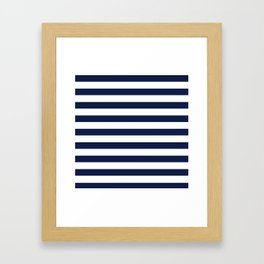 Nautical Navy Blue and White Stripes Framed Art Print