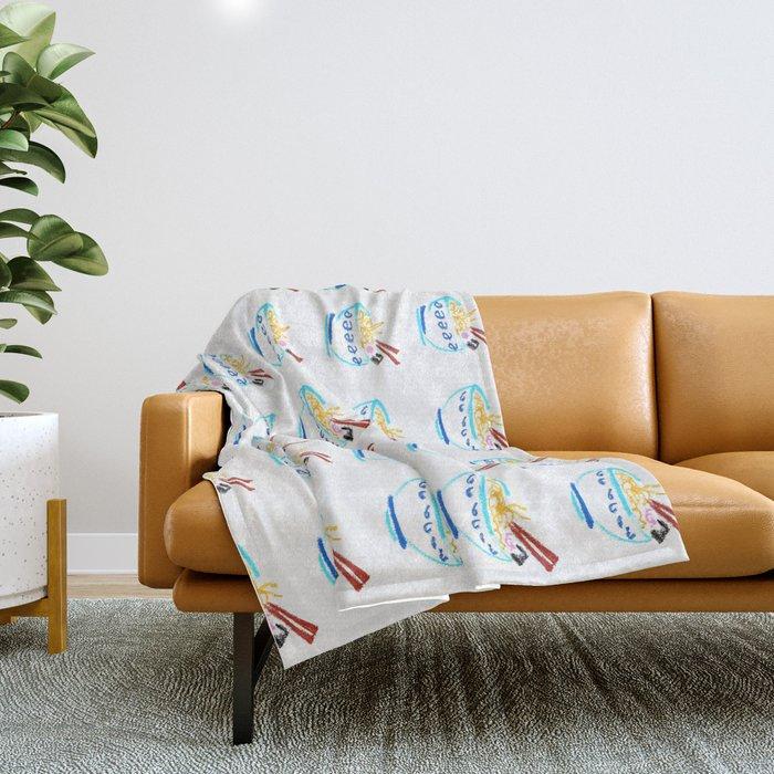 Noodles hand-drawn pattern Throw Blanket