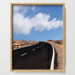 empty desert highway Serving Tray