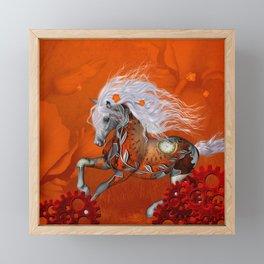 Steampunk, wonderful wild steampunk horse Framed Mini Art Print