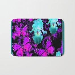 Purple Butterflies & Teal-aqua Iris Bath Mat
