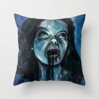 bjork Throw Pillows featuring BJORK by chris zombieking