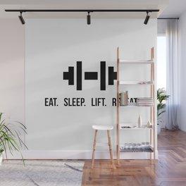 Eat Sleep Lift Repeat - Dumbell with bodybuilder slogan Wall Mural