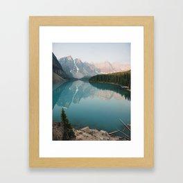 Pastel Sunrise over Moraine Lake Framed Art Print
