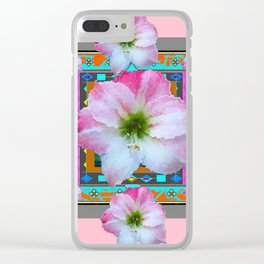 PINK-TURQUOISE  AMARYLLIS WESTERN ART DESIGN Clear iPhone Case