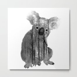 Misty Forest Koala Bear - black and white Metal Print