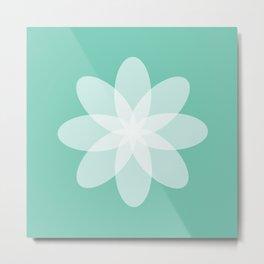 Läpikuultava kukka turkoosilla pohjalla Metal Print