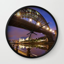 Bridges over the river Tyne in Newcastle, England at night Wall Clock