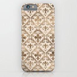 Fleur-de-lis pattern pastel gold iPhone Case