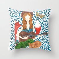 oana befort Throw Pillows featuring PLAY ME A SONG by Oana Befort