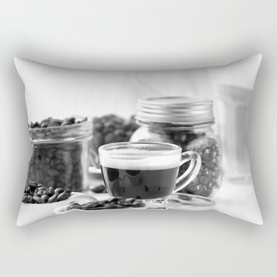 Black and white coffee bar Rectangular Pillow