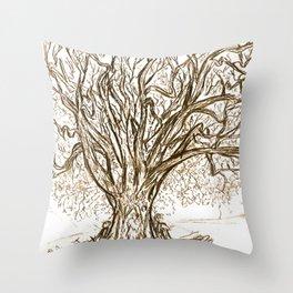 Love Tree Graphite Illustration Throw Pillow