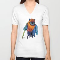 ewok V-neck T-shirts featuring Trippy Ewok by Lyn Sweet