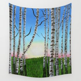 Birch Trees at Sunset Wall Tapestry