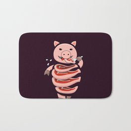 Gluttonous Cannibal Pig Bath Mat