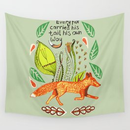 Every Fox...fox, sayings, typography, quote, nature, leaves Wall Tapestry