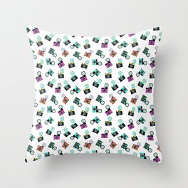 Photography Cameras Pattern Throw Pillow